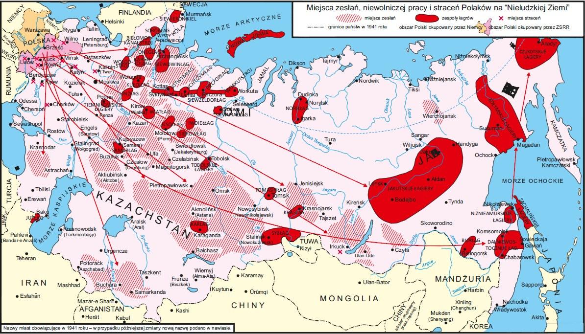 mapa zesłań